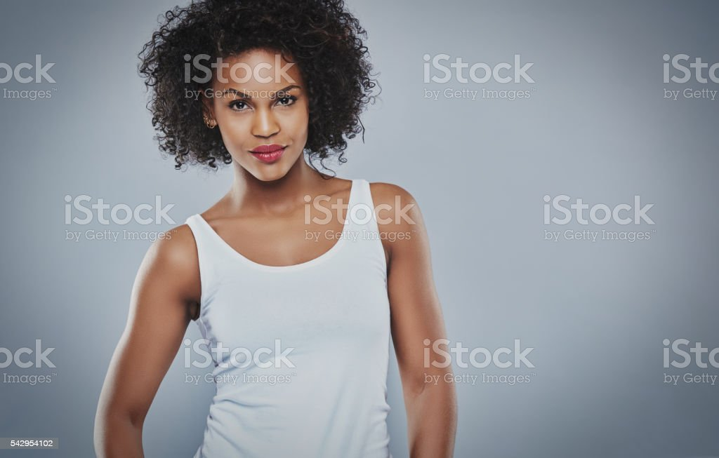 Tough beautiful young Black woman stock photo