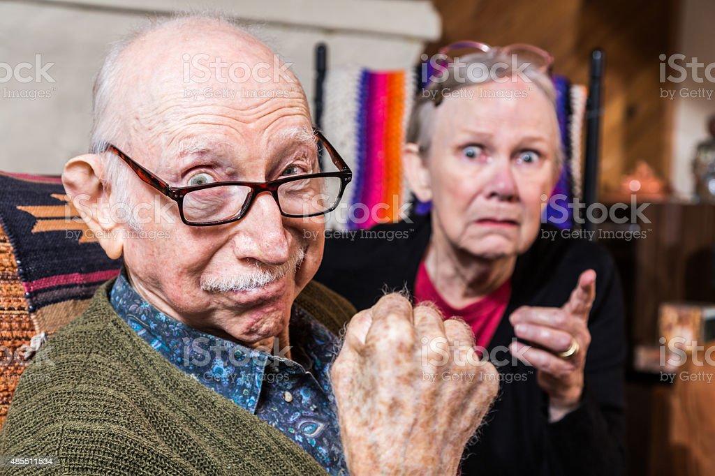 Tough Elderly Couple stock photo