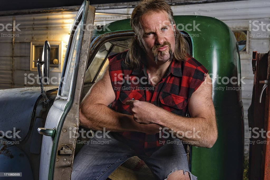 Tough Guy Redneck with Mullet royalty-free stock photo