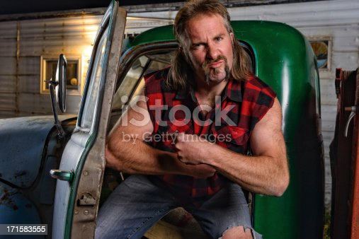 istock Tough Guy Redneck with Mullet 171583555