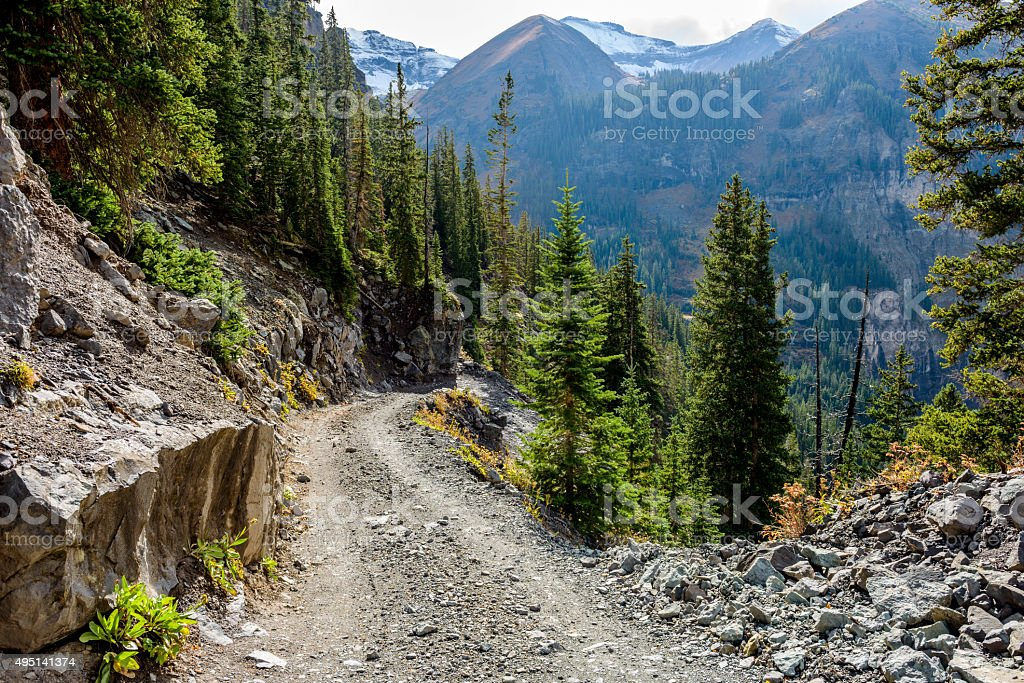 Tough High Mountain Road stock photo