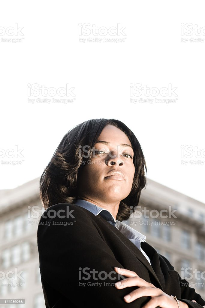 Tough Looking African American Businesswoman Outside Suit royalty-free stock photo