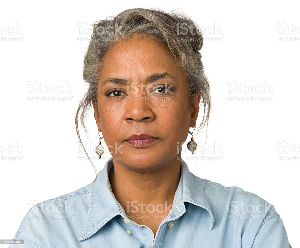 Tough Mature Woman Headshot Portrait stock photo