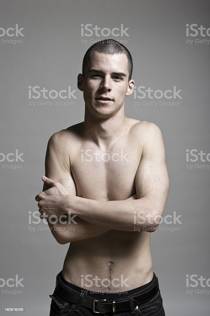 Tough Shirtless Young Man stock photo