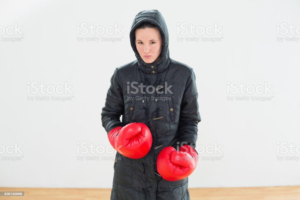 Mujer Capucha Foto Guantes Boxeo De Libre Rojo Dura Con Stock Y Chaqueta qrIrwAR
