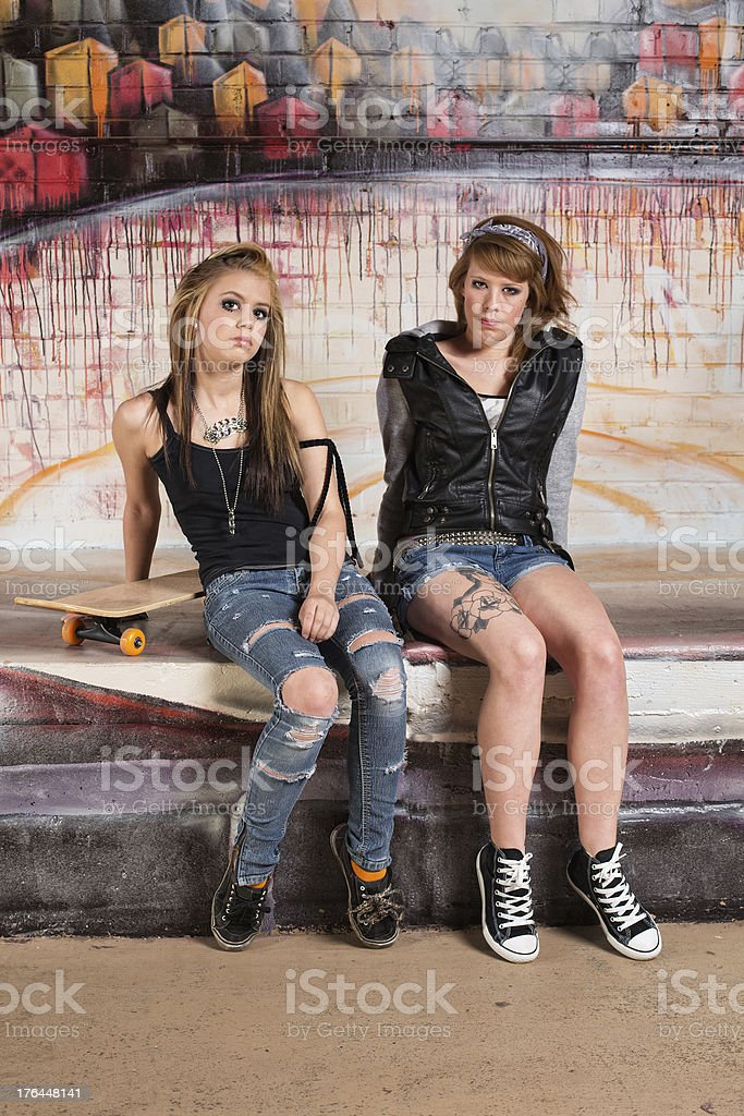 Tough Young Skateboarders stock photo