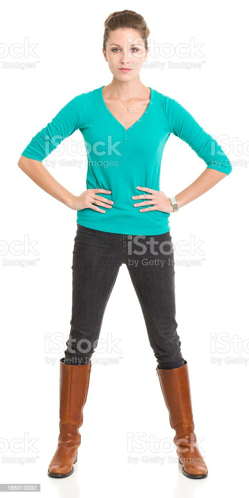 Tough Young Woman Standing With Attitude stock photo