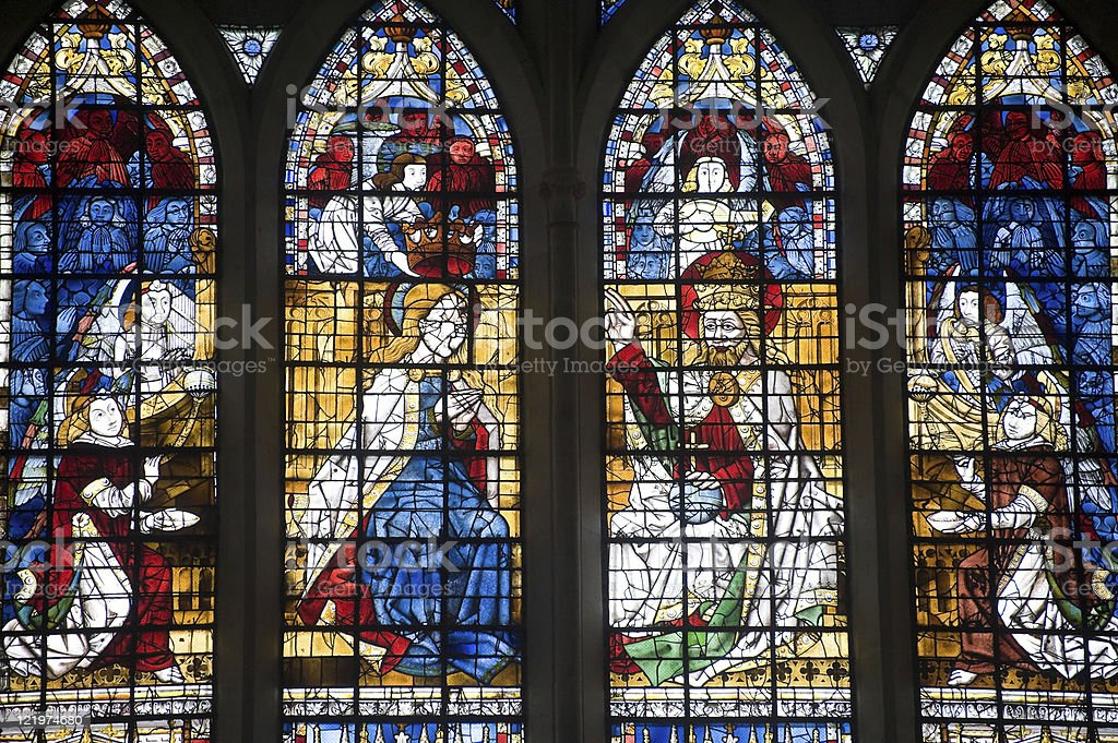 Toul (Lorraine, France) - Cathedral stained glass window (Renaissance era) stock photo