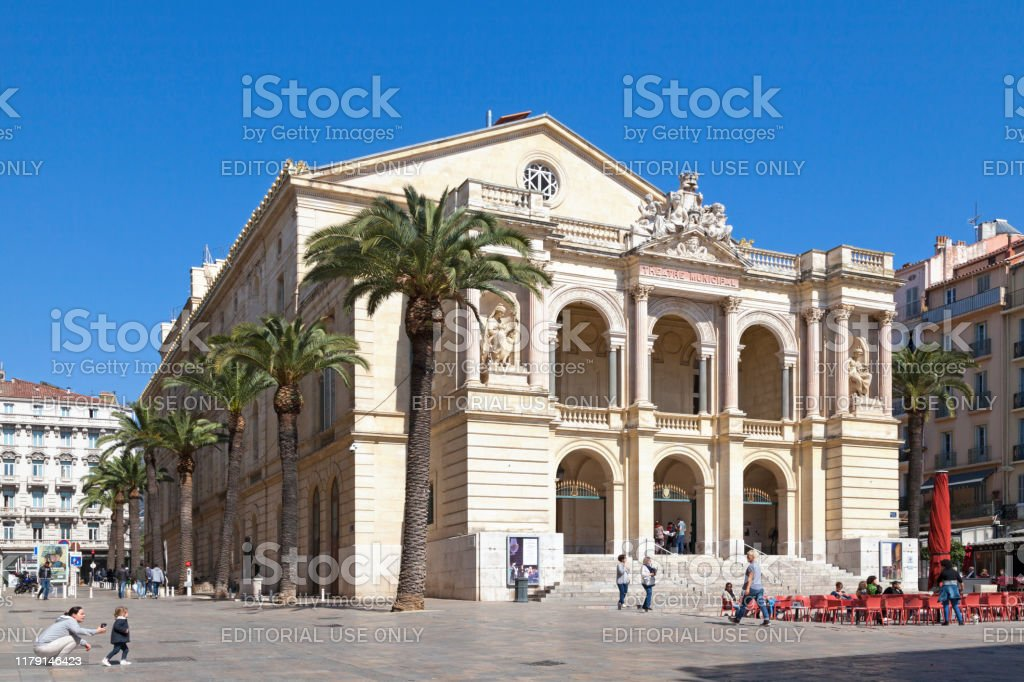 Toulon Opera Toulon, France - March 24 2019: The Toulon Opera (French: L'opéra de Toulon), inaugurated on 1 October 1862, is the second-largest opera house in France, after the Palais Garnier in Paris, although it opened thirteen years before the Garnier. Architecture Stock Photo