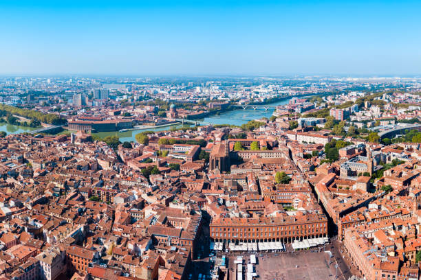 Toulouse aerial panoramic view, France stock photo