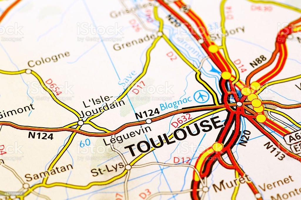 Toulouse Karte.Toulouse Auf Einer Karte Anzeigen Stockfoto Und Mehr Bilder