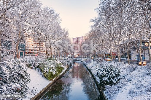 Stock photograph of Toulouse France on a snowy winter day