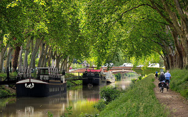 toulouse three walk along the canal of midi in Toulouse, France canal stock pictures, royalty-free photos & images