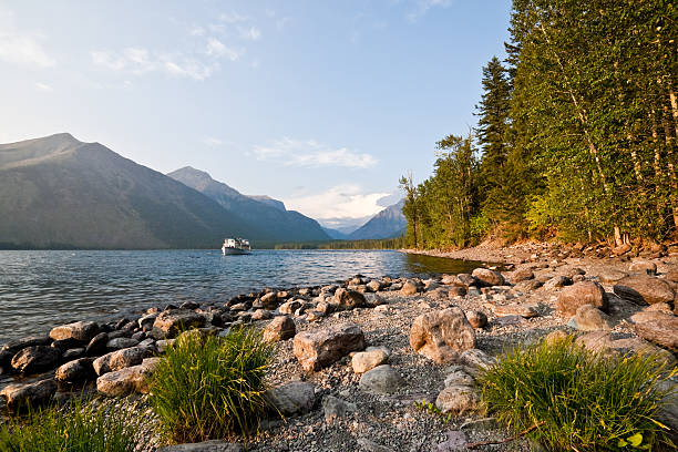 tour boat cruises the shore of lake mcdonald - mcdonald lake stock pictures, royalty-free photos & images