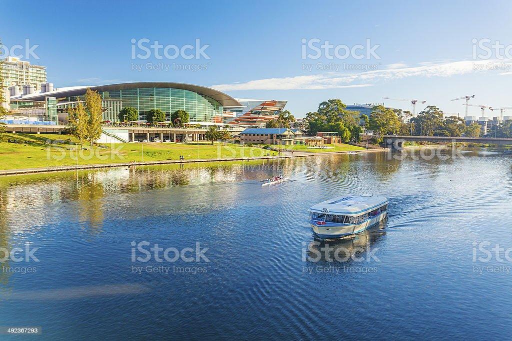 Tour boat cruising along River Torrens in Adelaide, Australia stock photo
