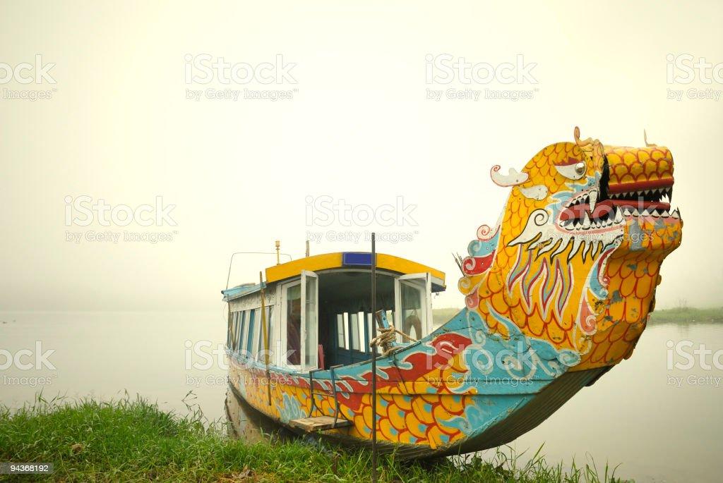Tour Boat in Foggy Riverside, Perfume River, Hue, Vietnam stock photo