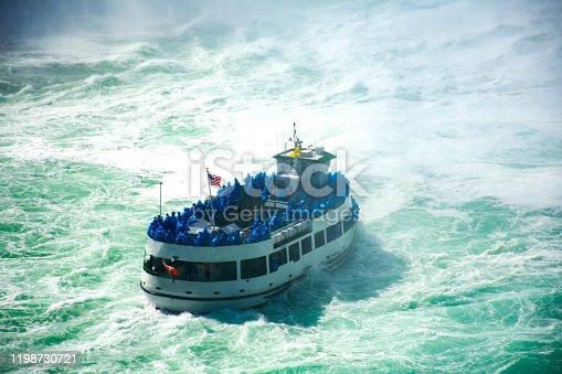 Tour boat near the falls