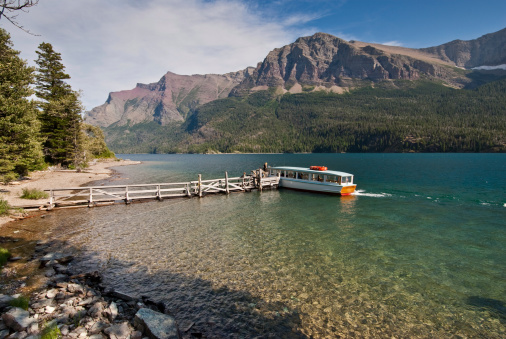 Tour Boat On Saint Mary Lake Stock Photo - Download Image Now