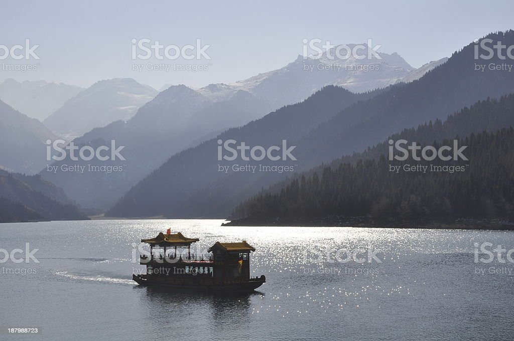 Tour boat on Tianchi stock photo