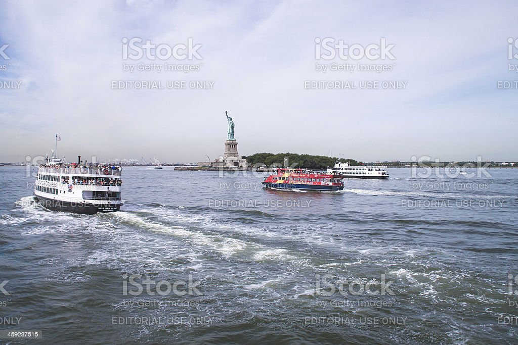 Tour boats and the Statue of Liberty, New York stock photo