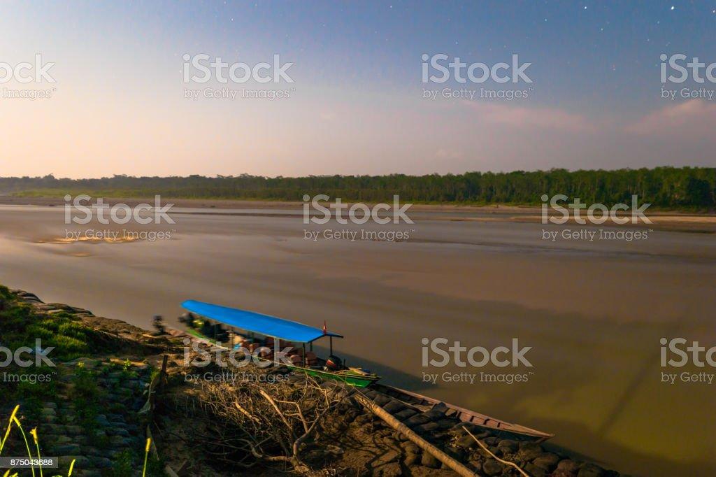 Manu National Park, Peru - August 08, 2017: Tour boats in Boca Manu village in the Amazon rainforest of Manu National Park, Peru stock photo