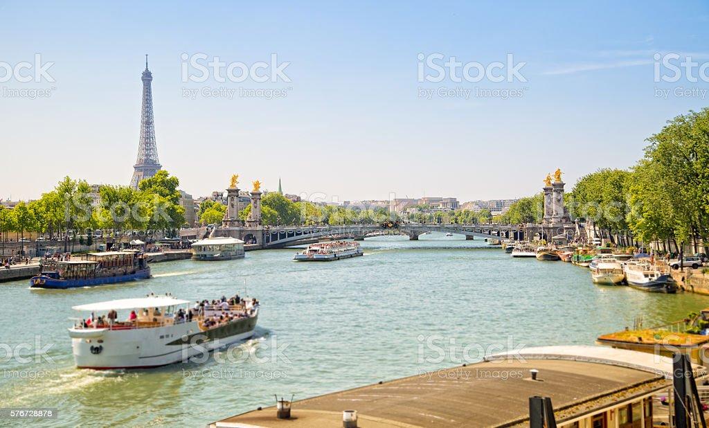 Tour boats on Seine River, Paris stock photo