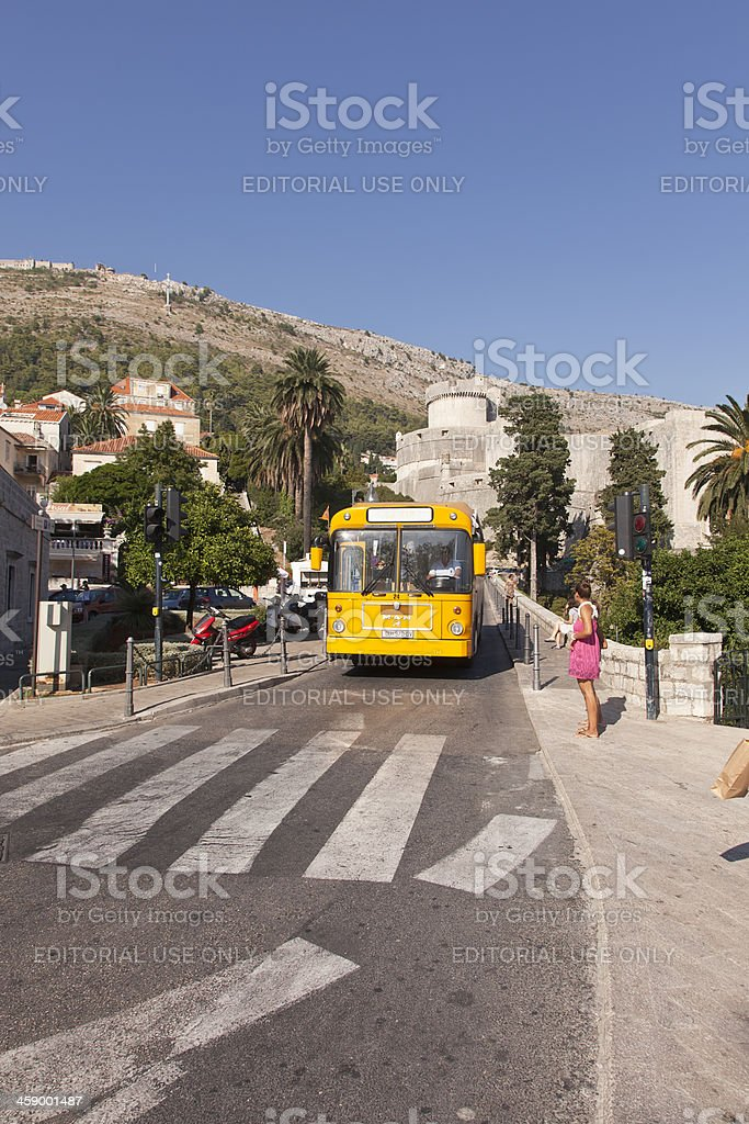 Tour Bus at Dubrovnik royalty-free stock photo