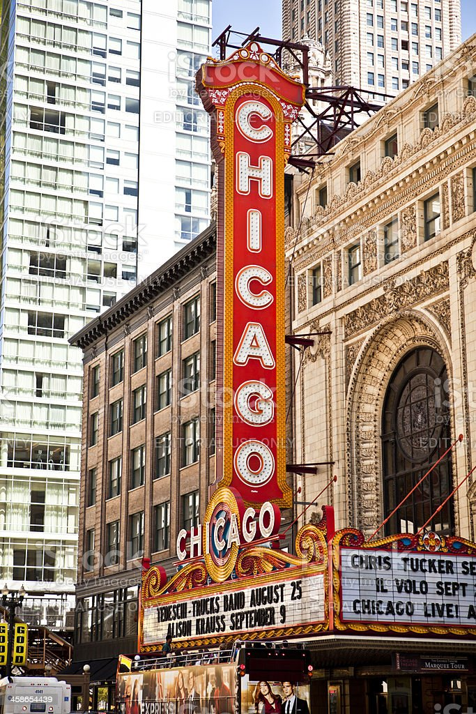 Tour Bus at the Chicago Theater stock photo
