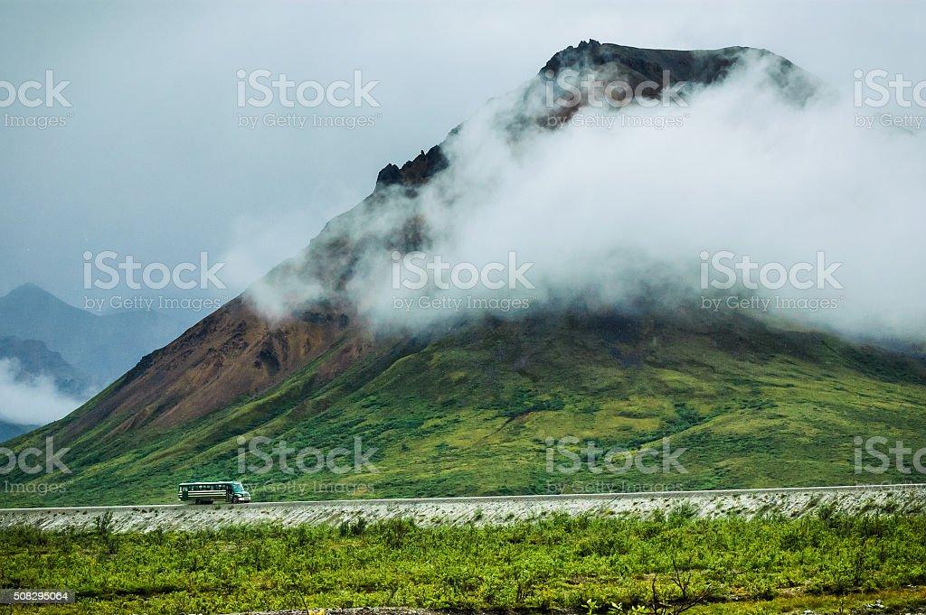 Tour Bus in Denali stock photo