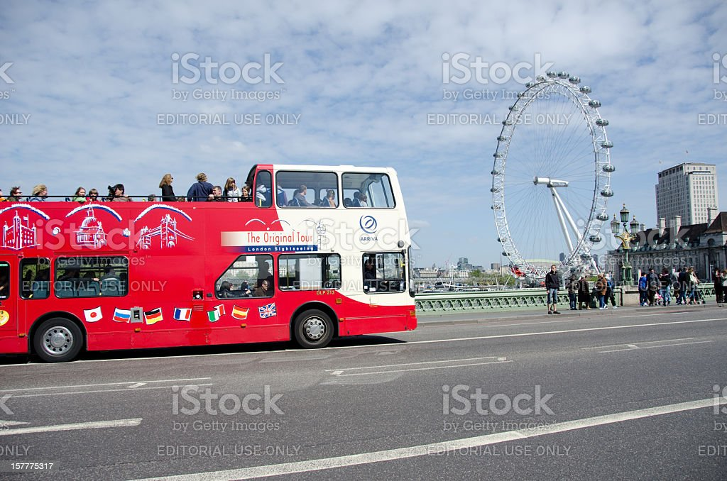 Tour bus in London stock photo