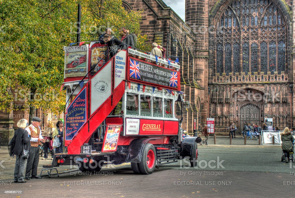 Tour bus ouside Chester Cathedral stock photo