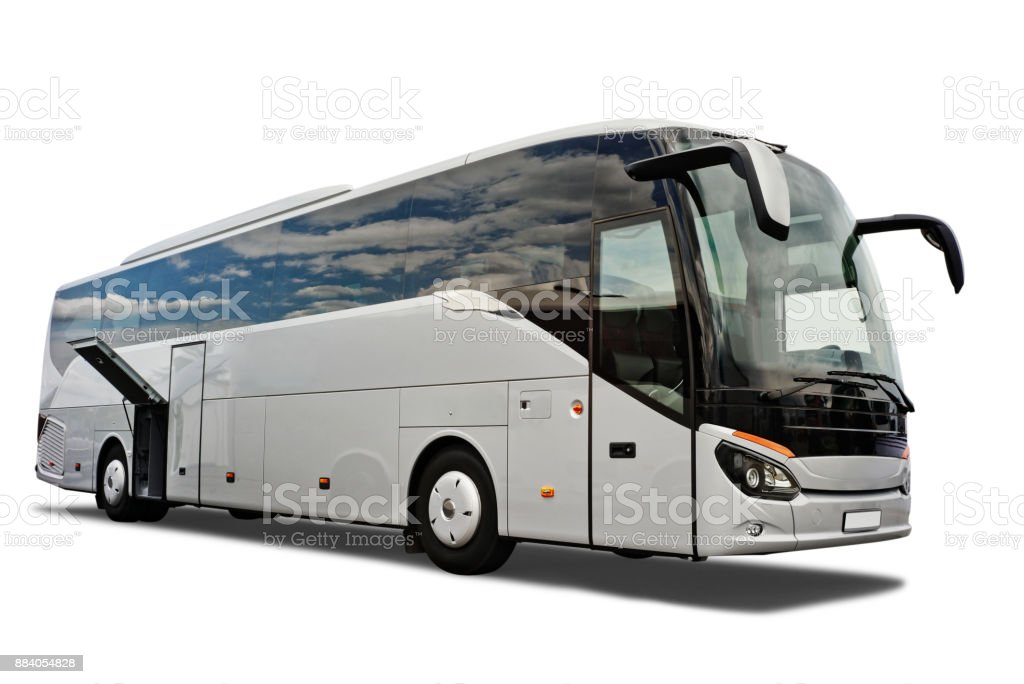Tour bus with open luggage compartment. stock photo