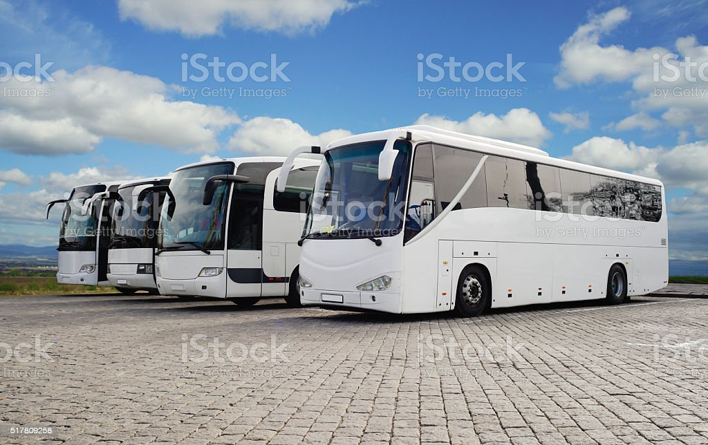 Tour Buses stock photo