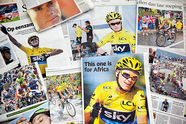Tour de France 2013 # 2 XXXL Amsterdam, the Netherlands - July 22, 2013: A collection of Dutch newspapers with publications of the winner 2013 Tour de France, the British rider Chris Froome of Team Sky. Chris Froome, born in Kenia in 1985, is an British professional road racing cyclist. This Tour de France was the 100th Tour de France. It started in Corsica on 29 June 2013 and finished in Paris on 21 July 2013. The tour was the first to be completed only on French soil since 2003. The race covered a total of 3,403 kilometres (2,115 miles). Froome pulled on the yellow jersey for the first time after the eighth stage and from then on was never really challenged, he also won three stages. Froome dedicated his win to Africa where his roots are.  The second place was for the Colombian Nairo Quintana and the third place for the Spaniard Joaquim Rodriguez. Bradley Wiggins won the 2012 title but he was unfit to race and his team-mate Froome has lead the Team Sky of 2013. 2013 stock pictures, royalty-free photos & images