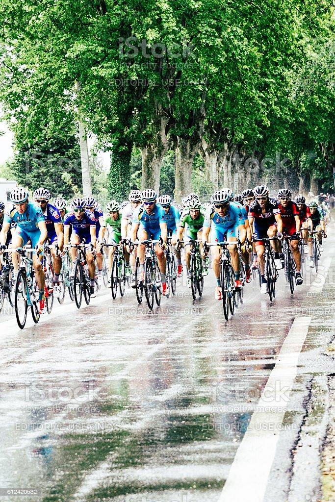 Tour de France in the rain, Provence, France, 2014 stock photo