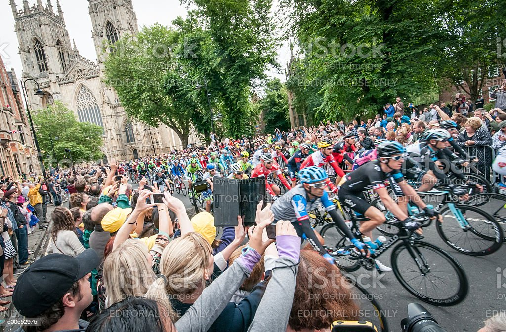 Tour de France peloton passing Minster in York, UK stock photo