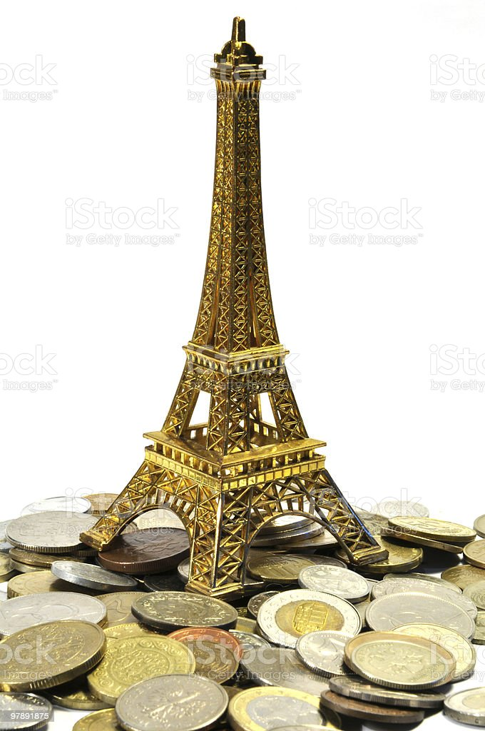 tour d'eiffel figure on a heap of euro cents royalty-free stock photo