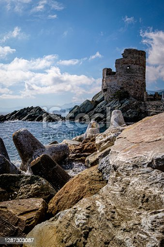 istock Tour d'Erbalunga, Genoese tower at the harbor of the small fisherman's village Erbalunga, corsica, france 1287303087