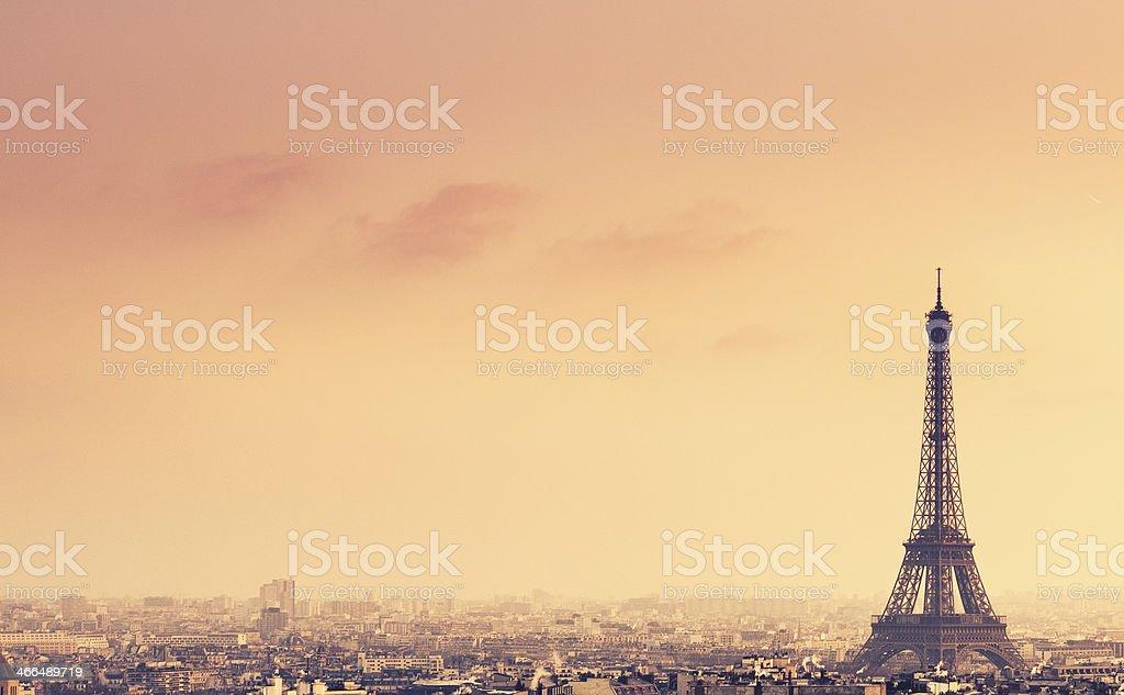 Tour Eiffel aerial view on Paris stock photo
