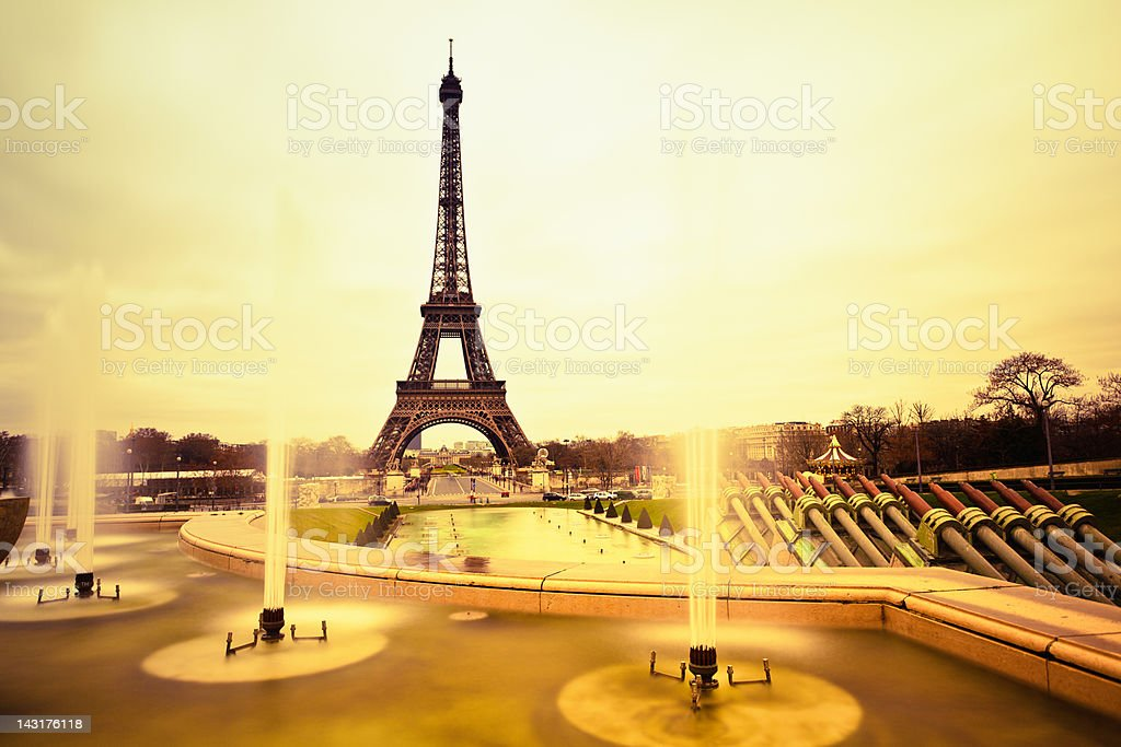 Tour Eiffel and Fountain, Paris Landmark royalty-free stock photo