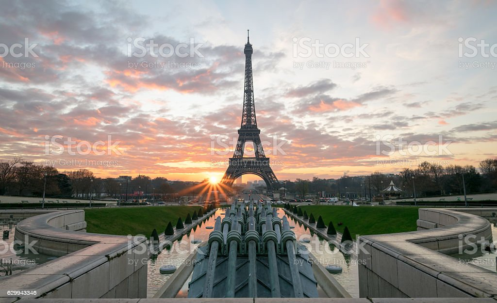Tour Eiffel et le Trocadero stock photo