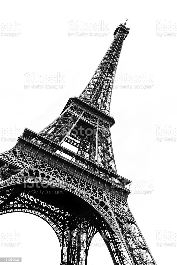 Tour Eiffel in black and white silhouetted against white stock photo