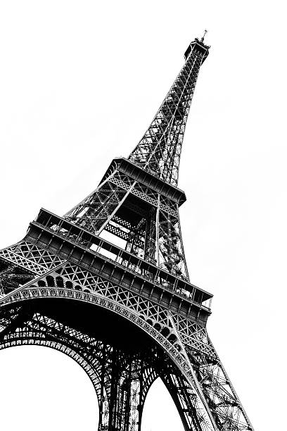 tour eiffel in black and white silhouetted against white - eiffel tower stock photos and pictures