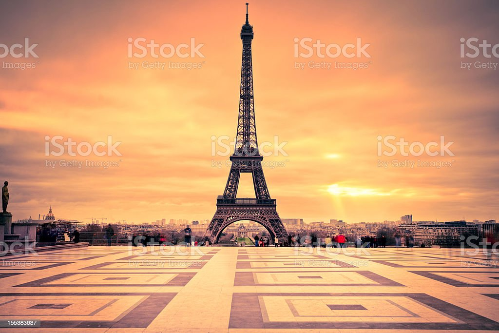 Tour Eiffel of Paris at Sunset stock photo