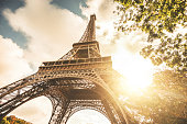 Statue of Eiffel Tower on a map, travel destination