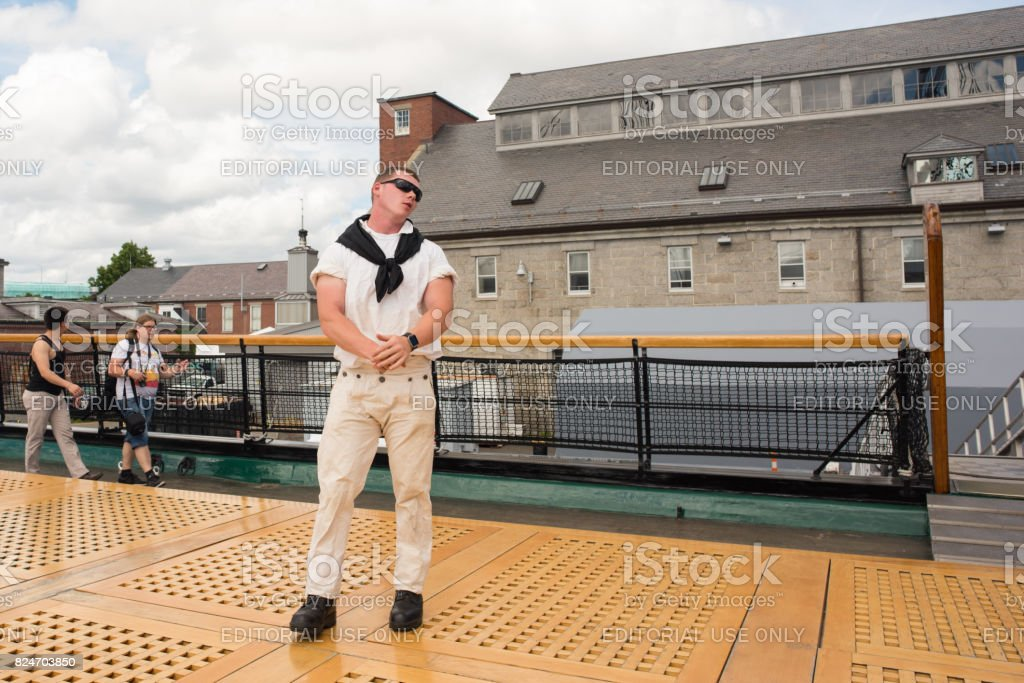 Tour guide in costume at the USS Constitution stock photo
