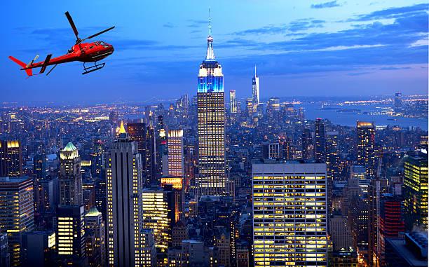 Tour over Manhattan at night stock photo