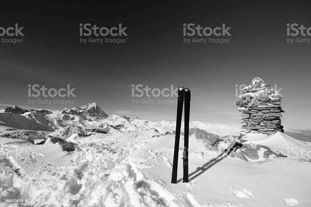 Tour ski and high mountain peak royalty-free stock photo