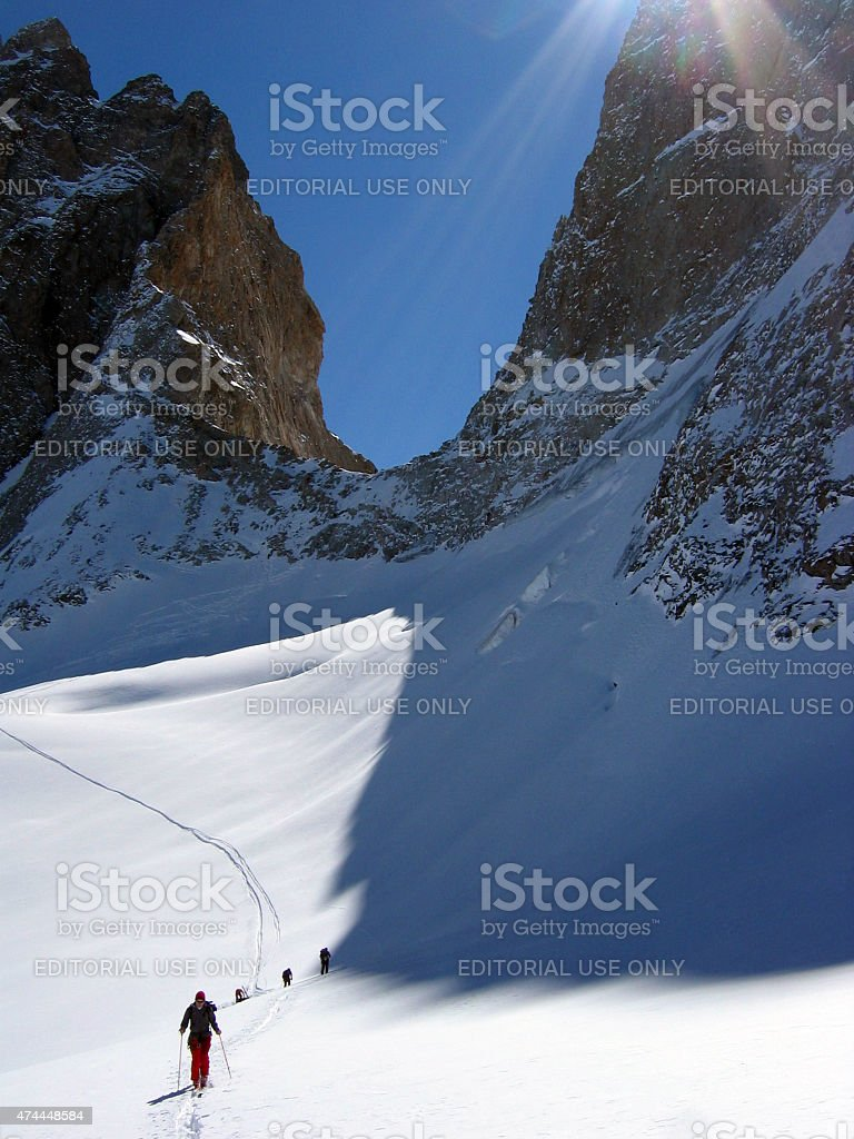 Tour skiing in French alps stock photo