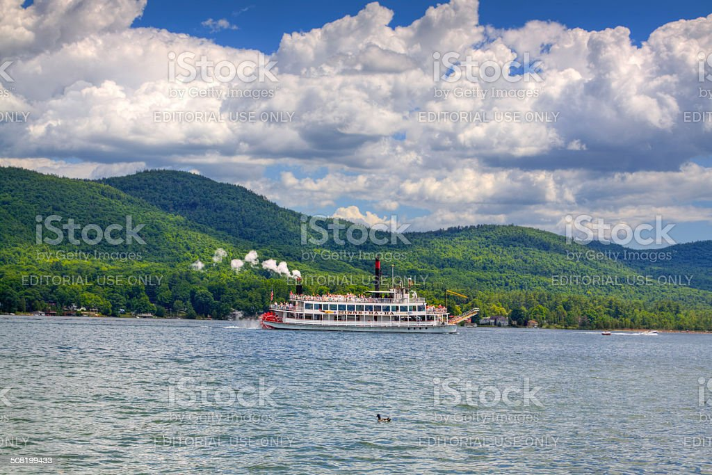 Tour Steam Boat sailing in Lake George, NY. stock photo